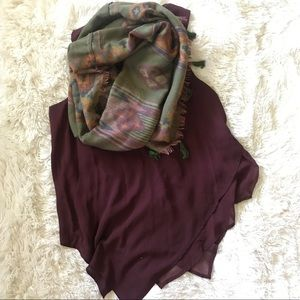 Tribal Infinity Scarf and Burgundy Tank Top